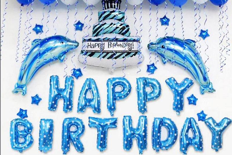 Tổ chức tiệc sinh nhật tại nhà lung linh với tone màu xanh dương